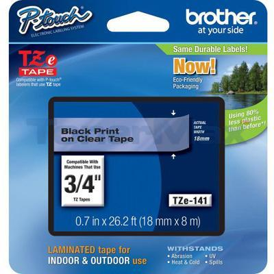 BROTHER TZ LAMINATE TAPE BLACK ON CLEAR 0.7 IN X 26.2 FT